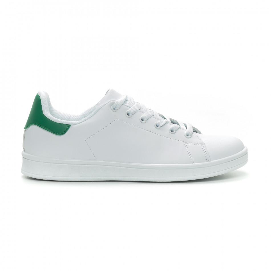 Basic мъжки бели кецове зелена пета it150319-11