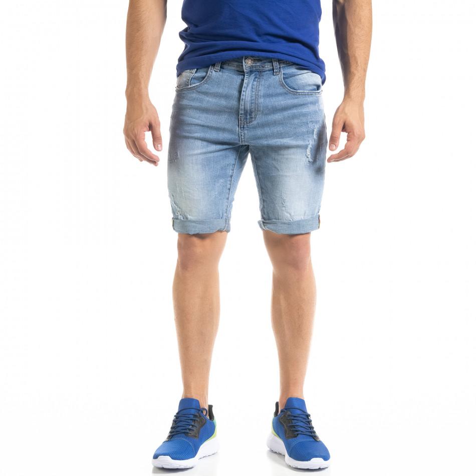 Мъжки сини къси дънки с маншети it050620-10