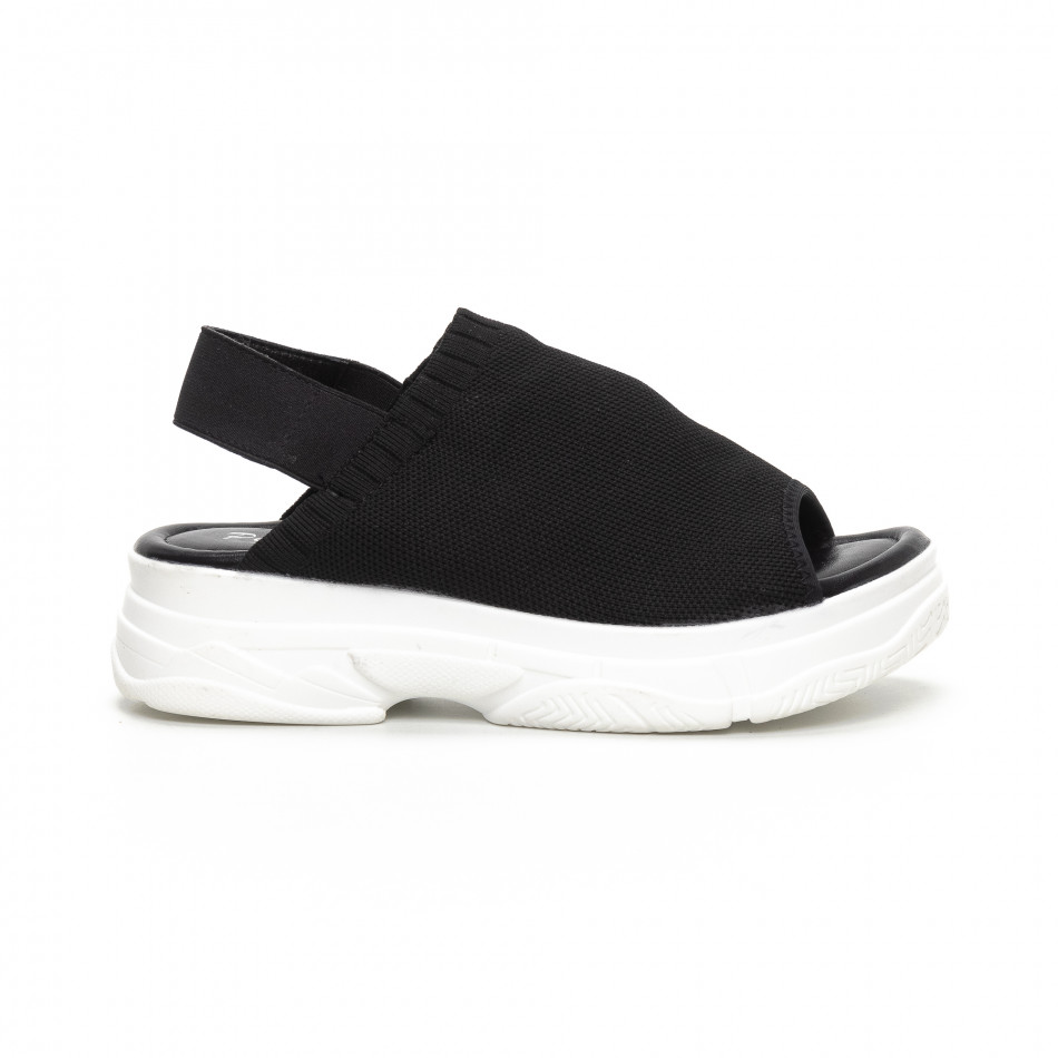 Дамски черни сандали тип чорап it240419-52