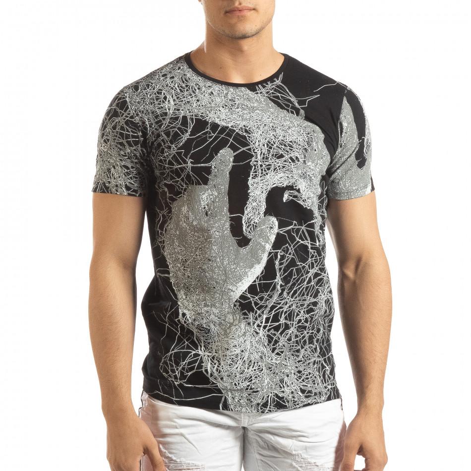 Мъжка тениска в черно с фигурален принт it150419-75
