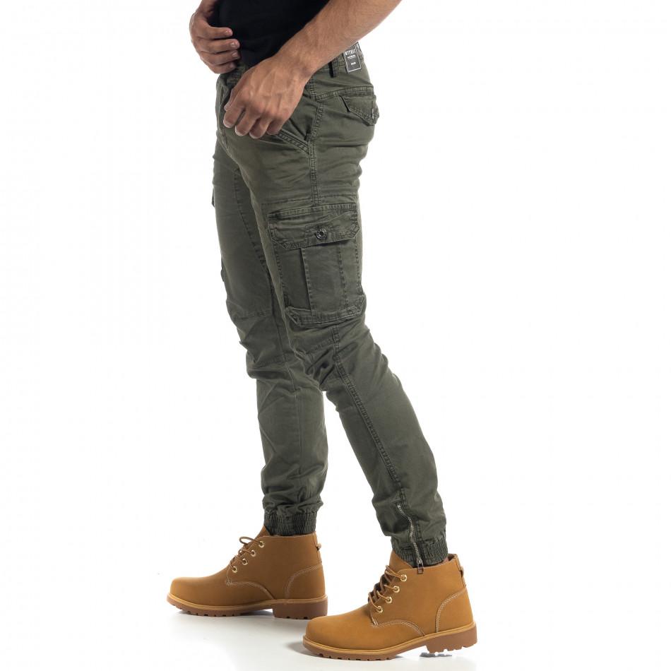 Зелен мъжки карго панталон с ципове it041019-42