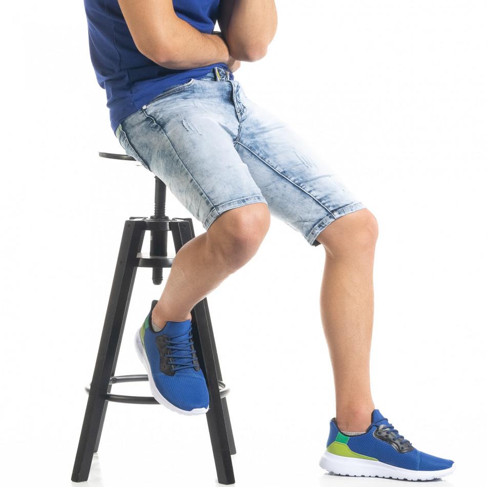 Slim fit мъжки къси дънки Washed сини it050620-11