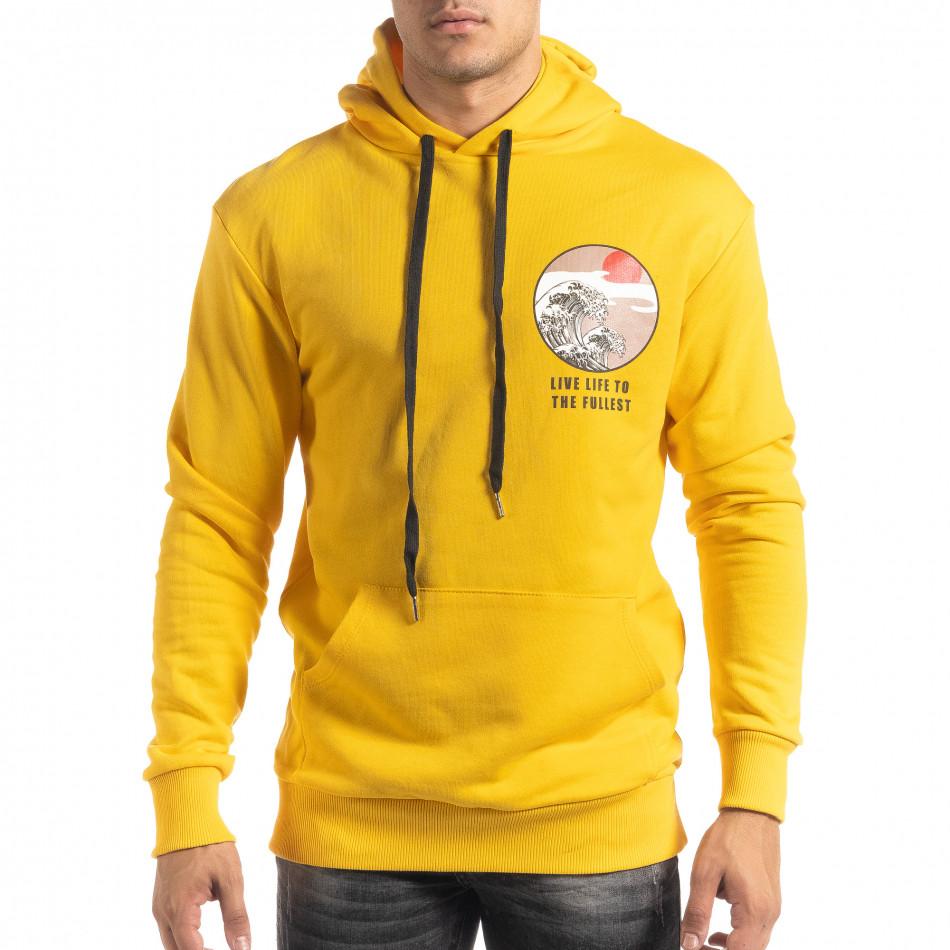 Памучен жълт суичър с принт на гърба it041019-53