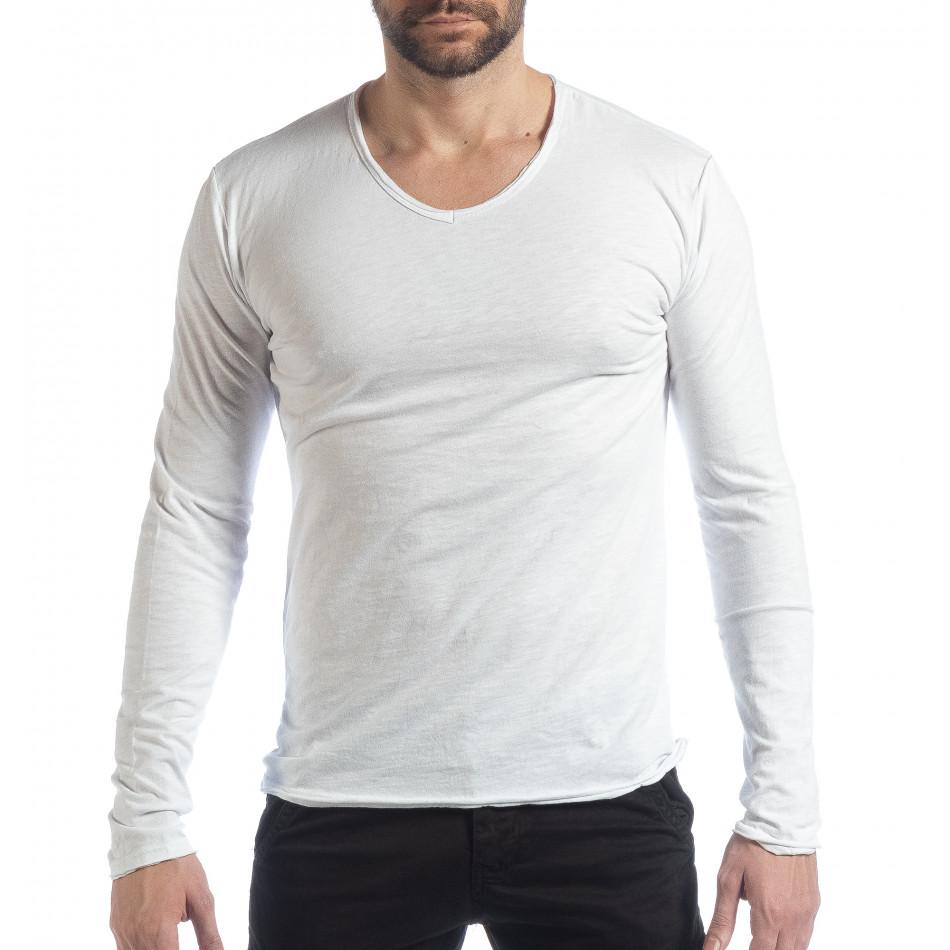 Мъжка блуза V-neck в бяло it040219-89