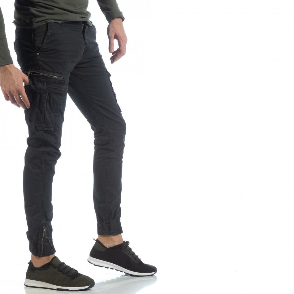Черен карго панталон с ципове на крачолите it040219-34