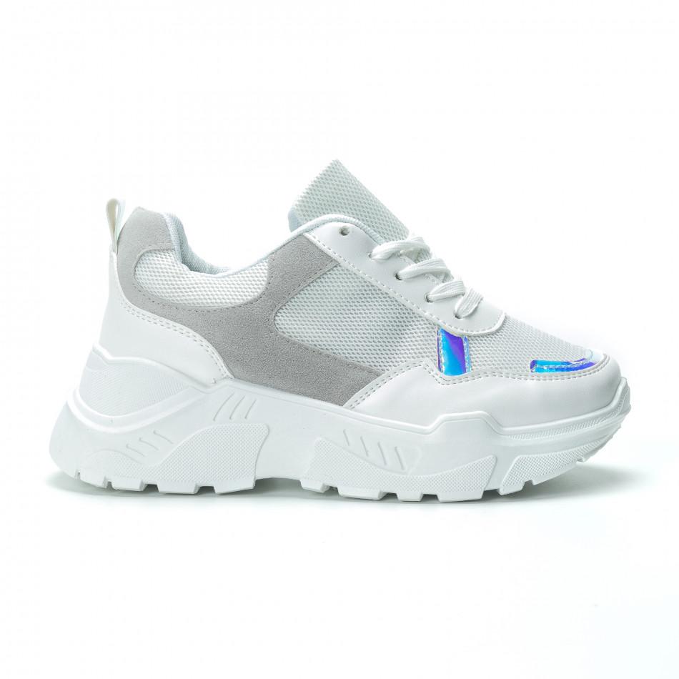 Бели дамски маратонки с обемна подметка it250119-37