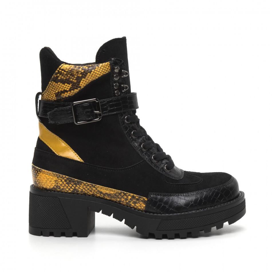 Дамски черни боти Snake в жълто it260919-82