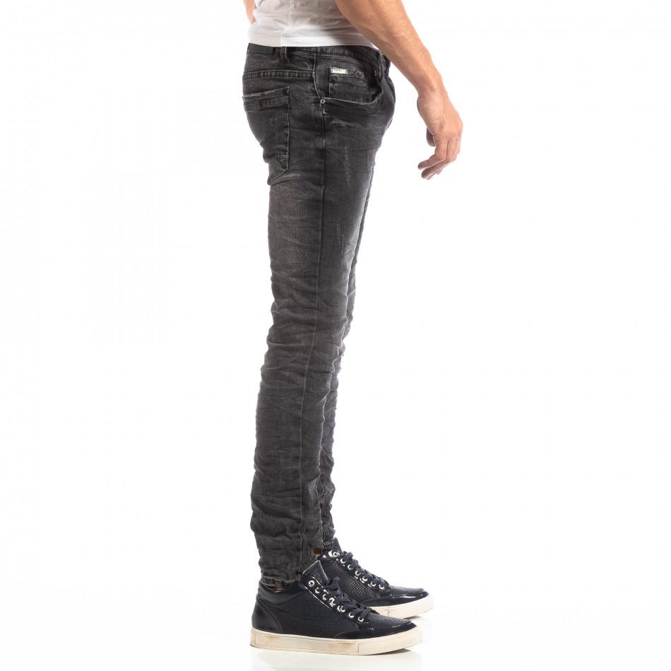 Намачкани мъжки дънки в сиво Slim fit it261018-8