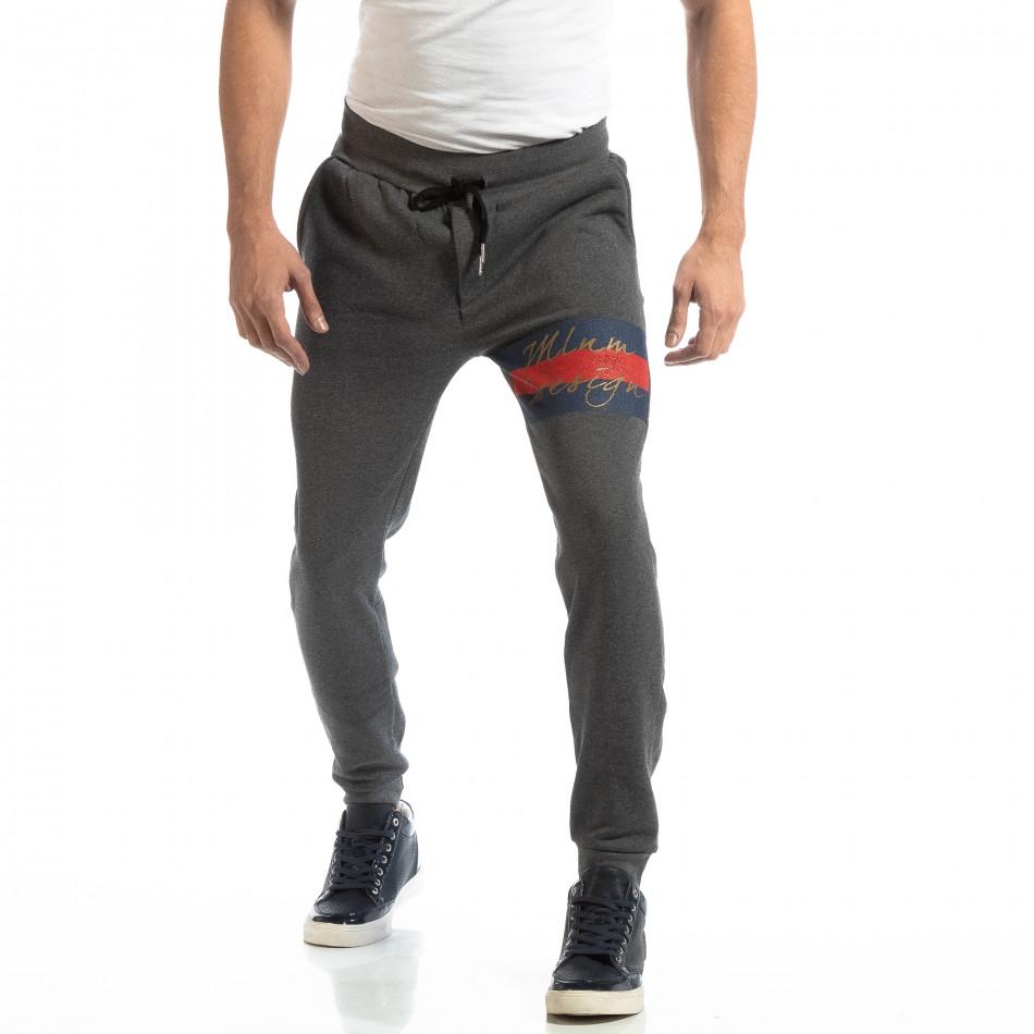 Памучен мъжки сив Jogger с акцент it261018-46
