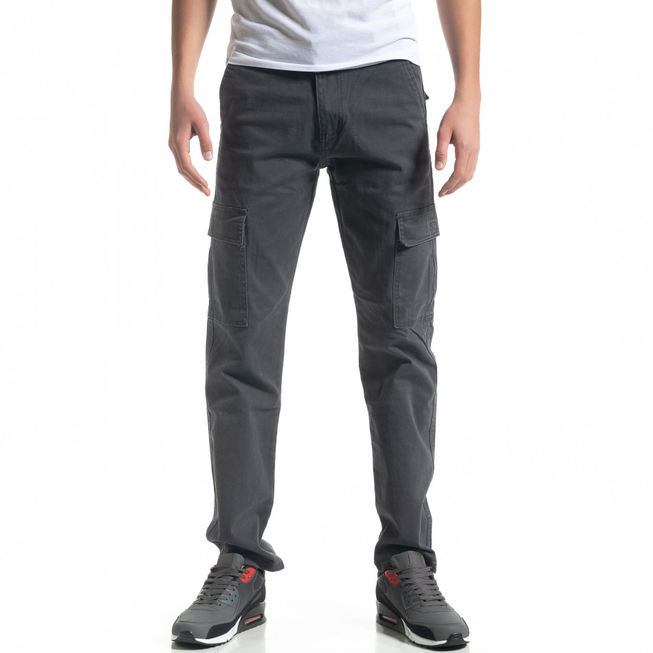 Мъжки карго панталон в сиво Regular fit it091219-9