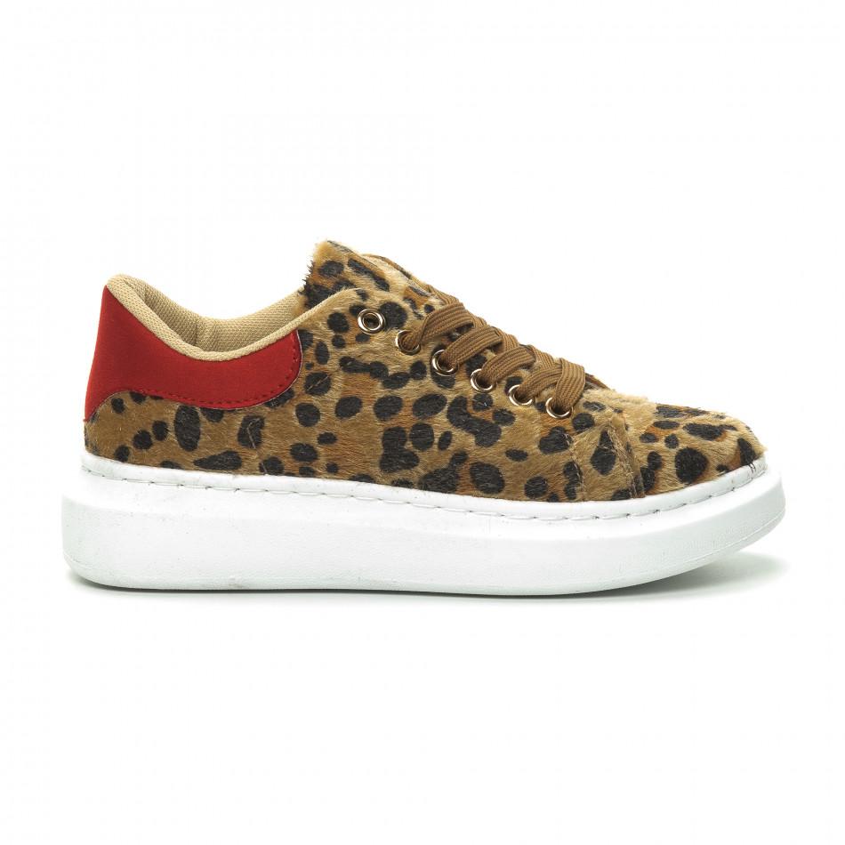 Дамски кецове леопард с червена пета it150319-46
