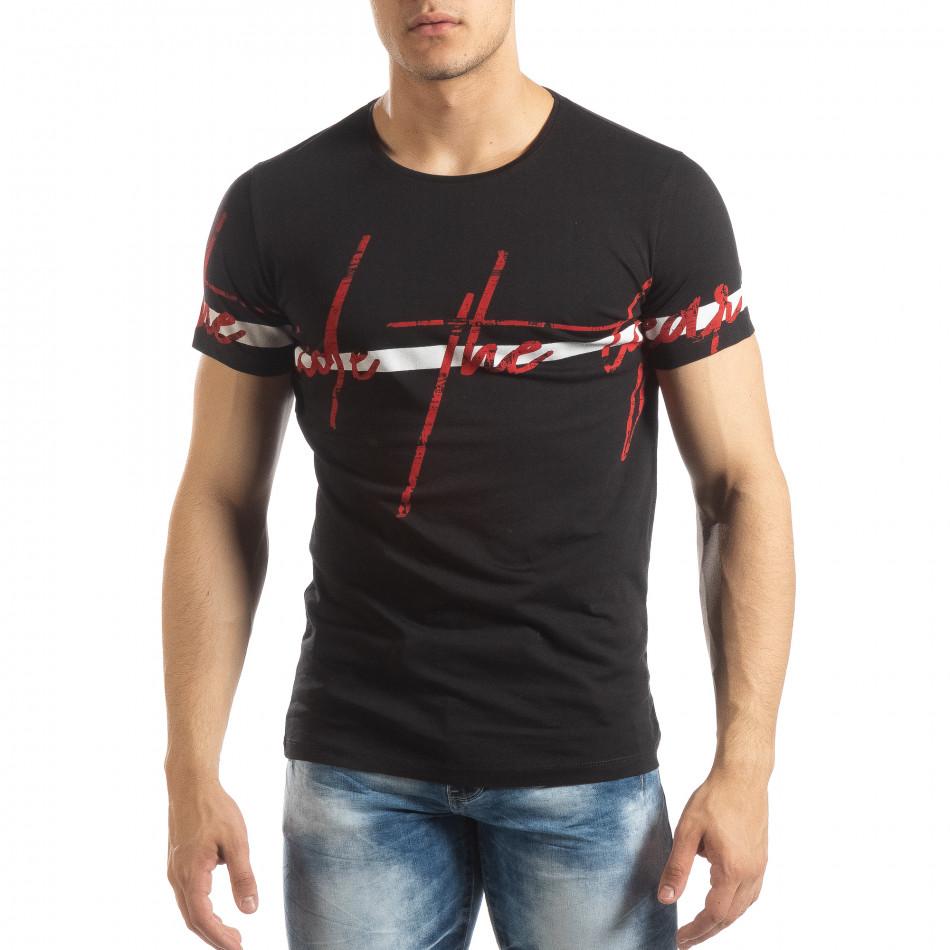 Мъжка тениска с принт в черно it150419-103