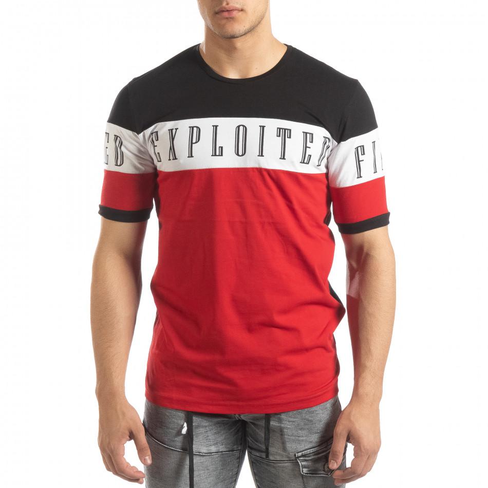 Мъжка тениска в черни и червени блокове it150419-74