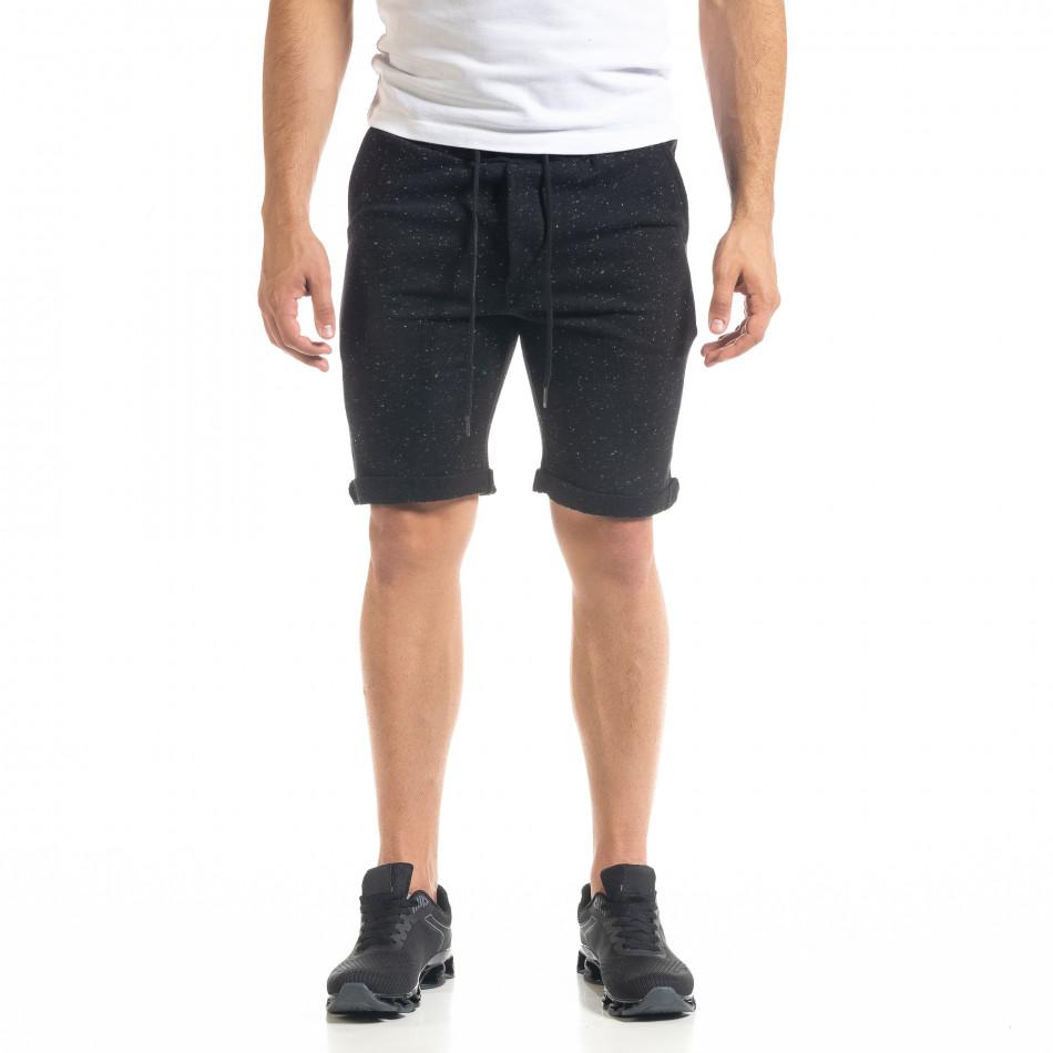 Мъжки трикотажни шорти черен меланж it050620-16