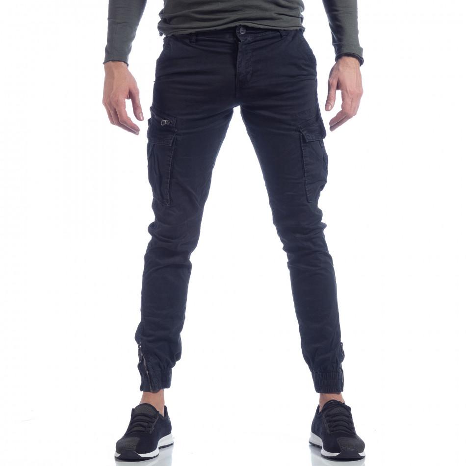Син карго панталон с ципове на крачолите it040219-126