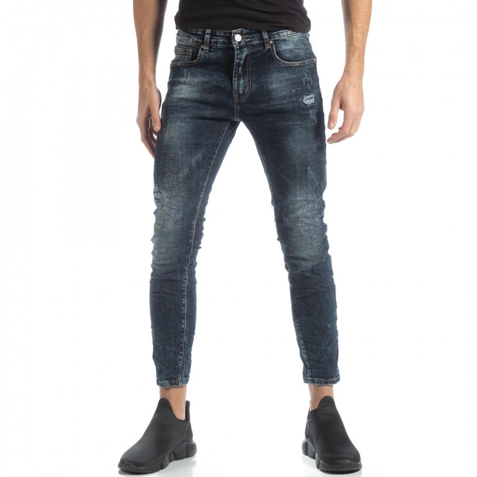 Мъжки сини дънки с износен ефект it051218-10