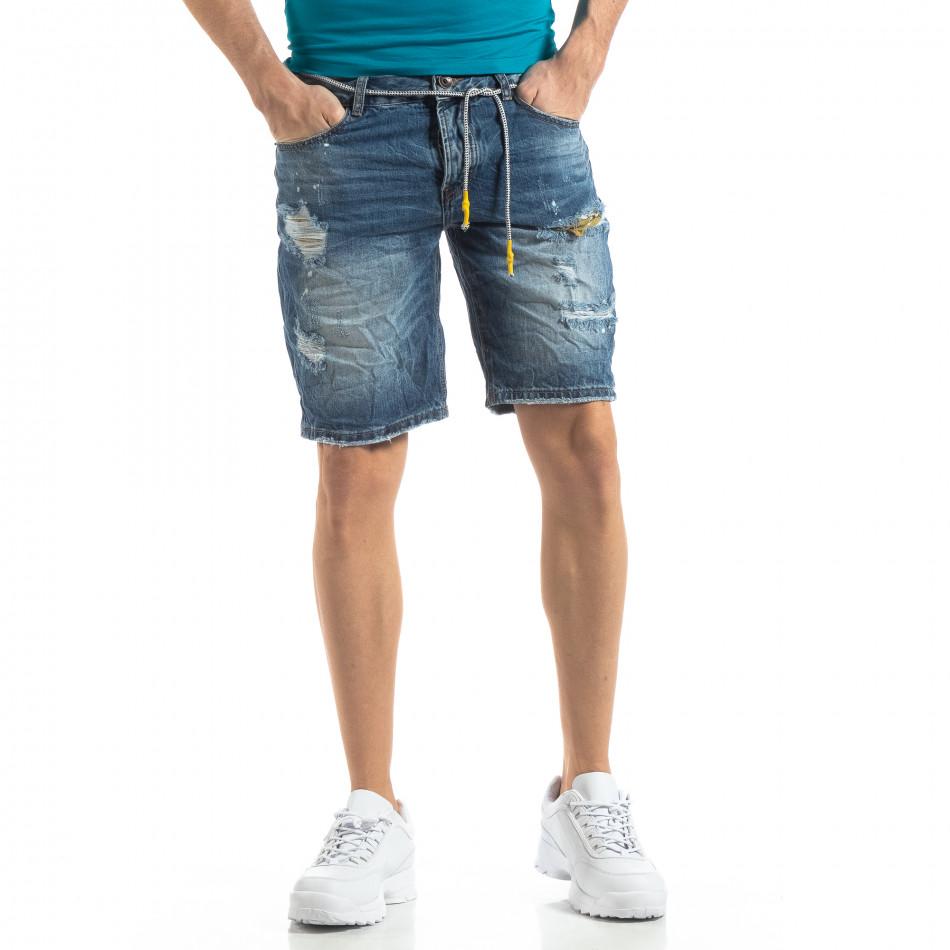 Мъжки сини къси дънки състарен ефект it210319-29