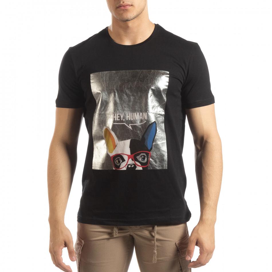 Черна мъжка тениска сребрист принт it150419-78