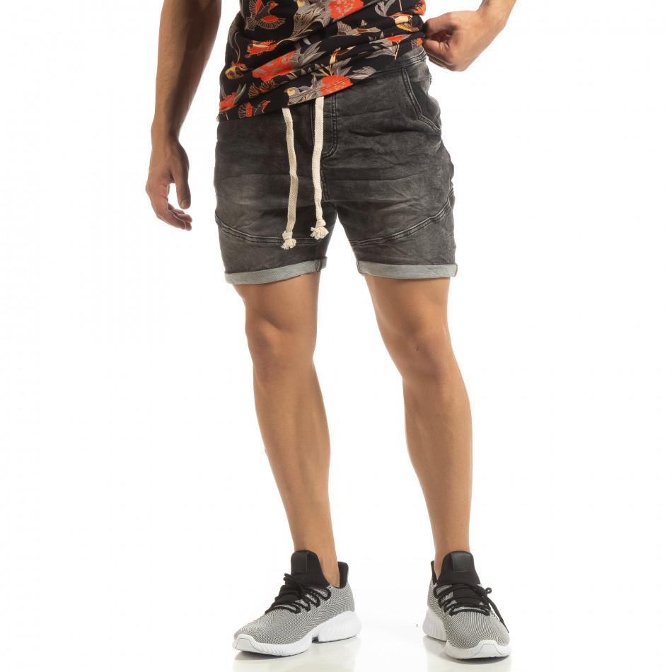 Еластични черни мъжки дънки it090519-41