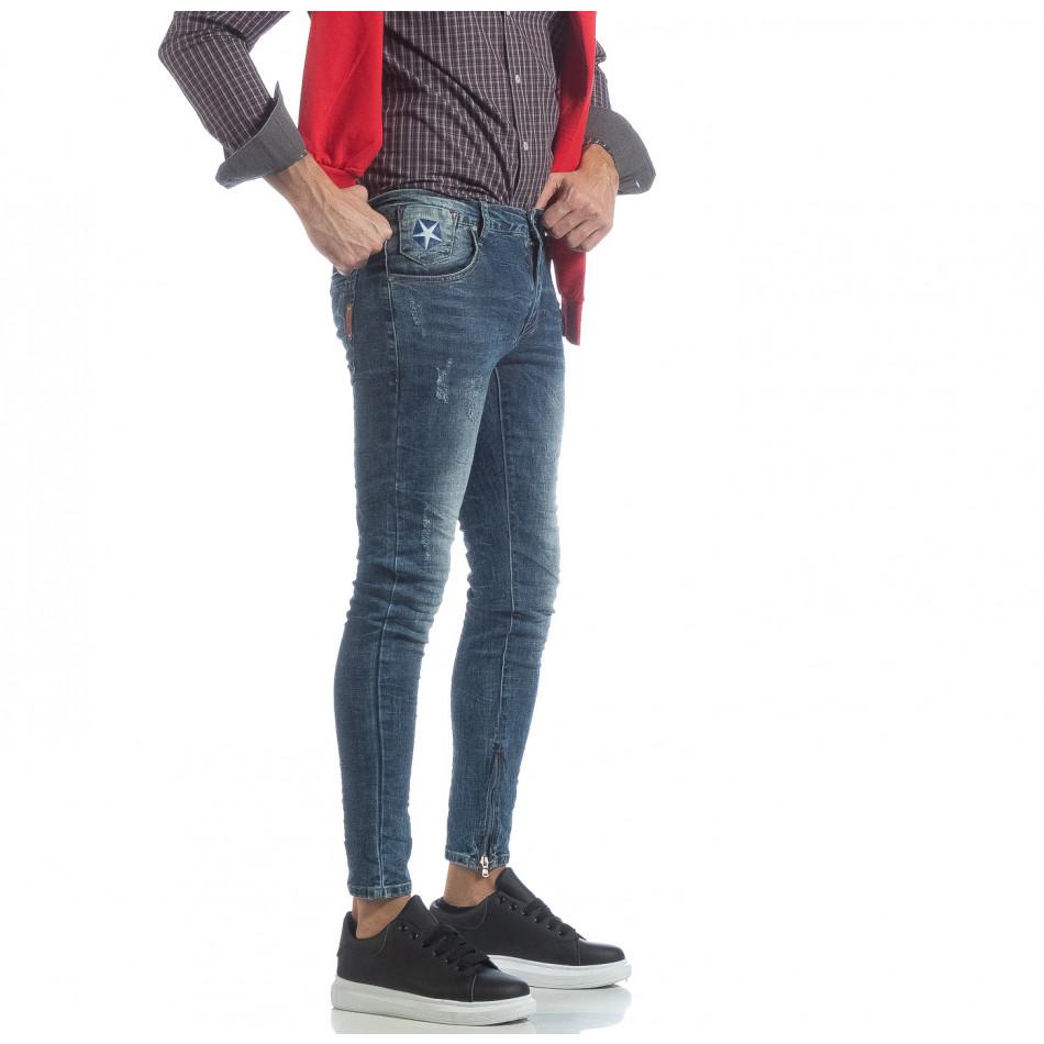 Мъжки намачкани Slim fit дънки с ципове it040219-9