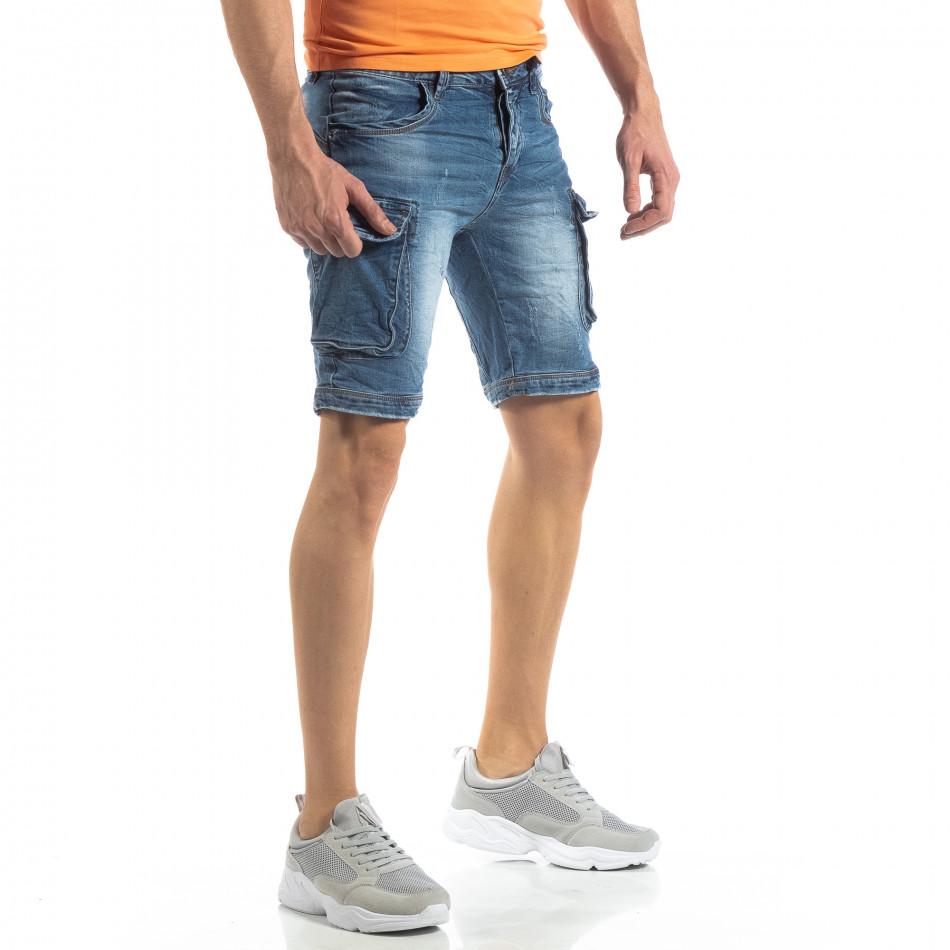 Карго къси мъжки дънки в синьо it210319-31