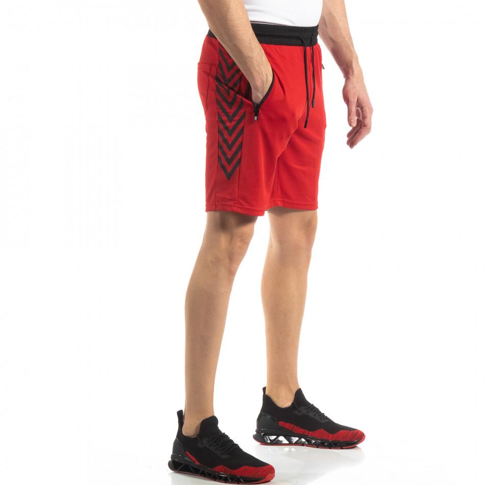Червени мъжки шорти с ивици it210319-59