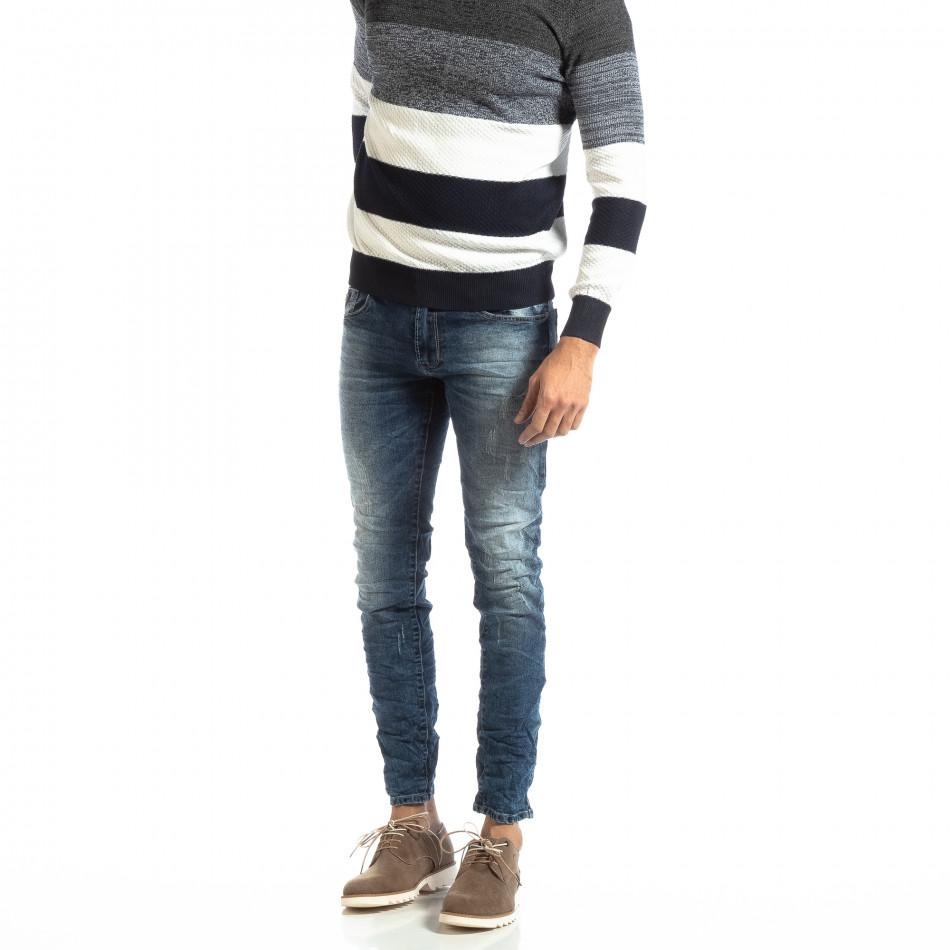Намачкани мъжки дънки в синьо Slim fit it261018-7