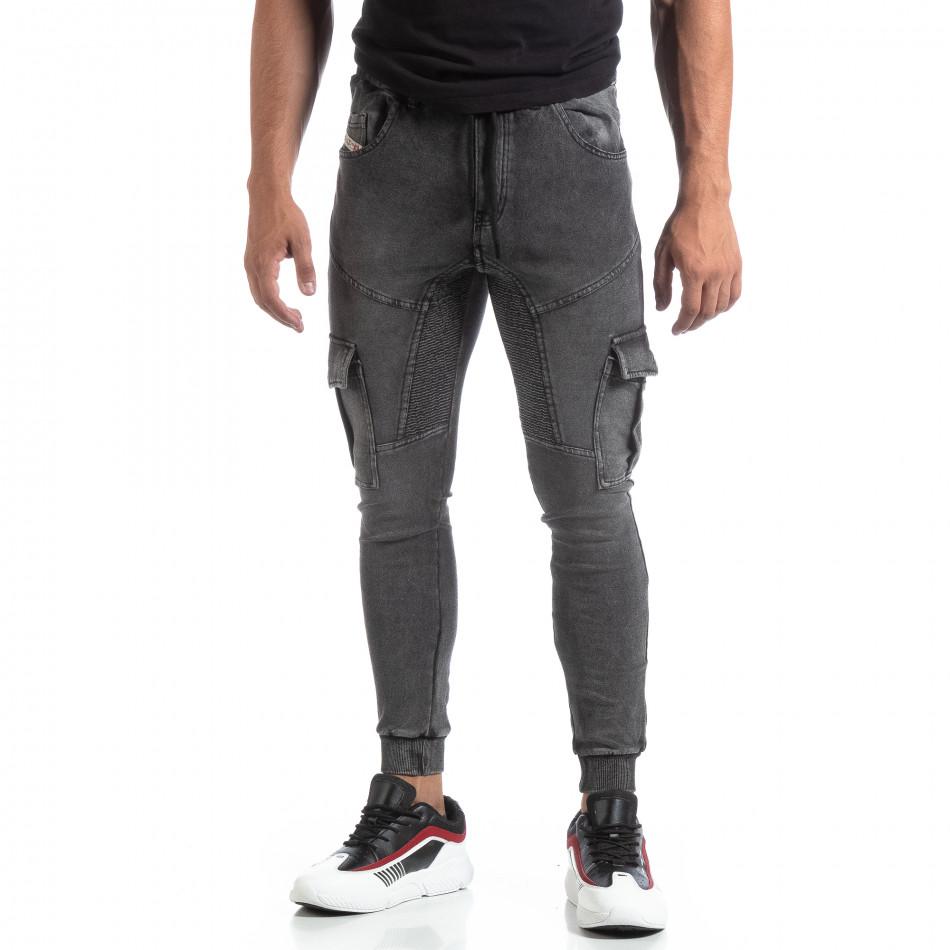 Мъжко сиво долнище тип Cargo Jeans it170819-30