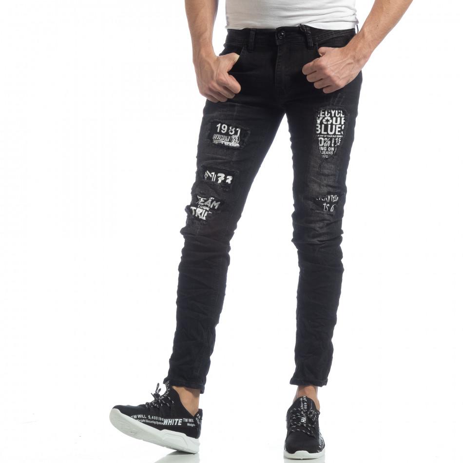 Черни мъжки дънки с принт кръпки it040219-24