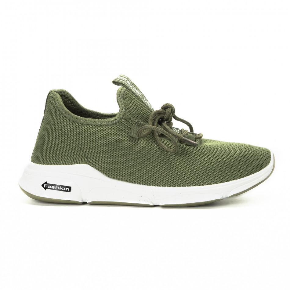 Плетени зелени мъжки маратонки  it221018-37