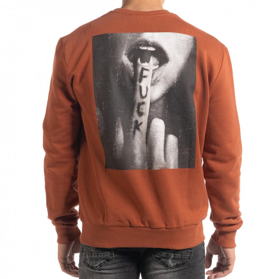 Светло кафява блуза с принт на гърба it041019-57