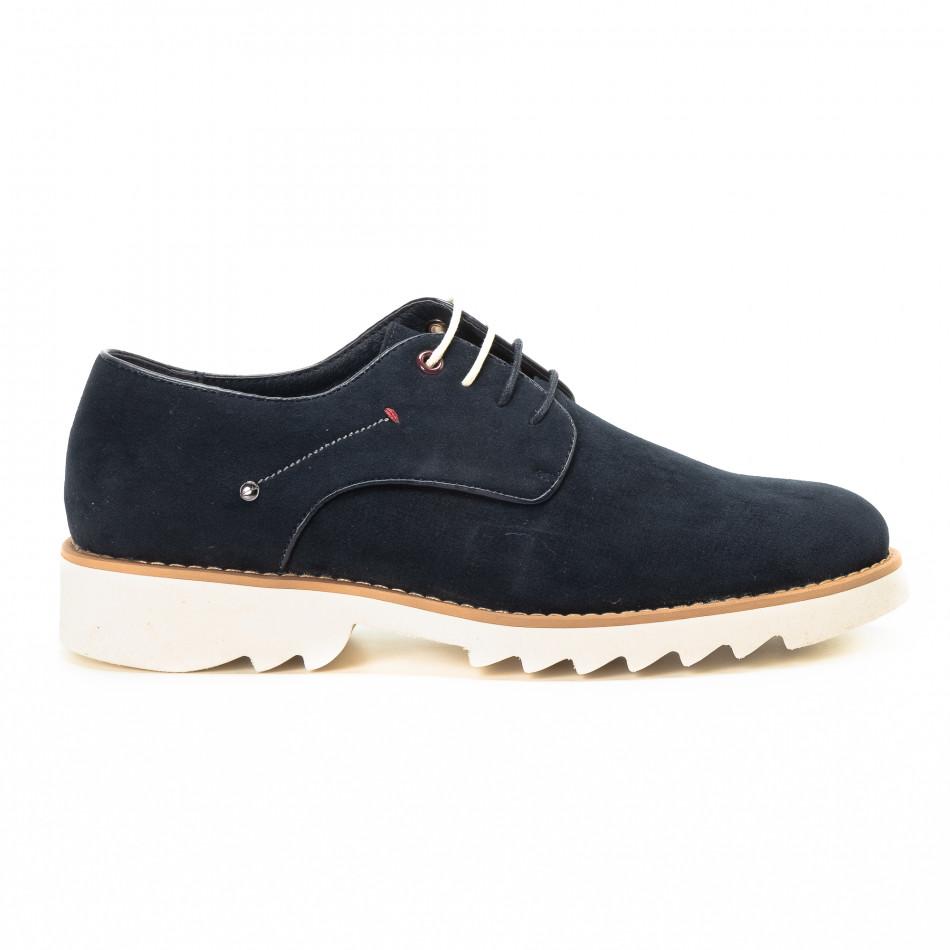 Casual мъжки обувки в син велур it221018-12