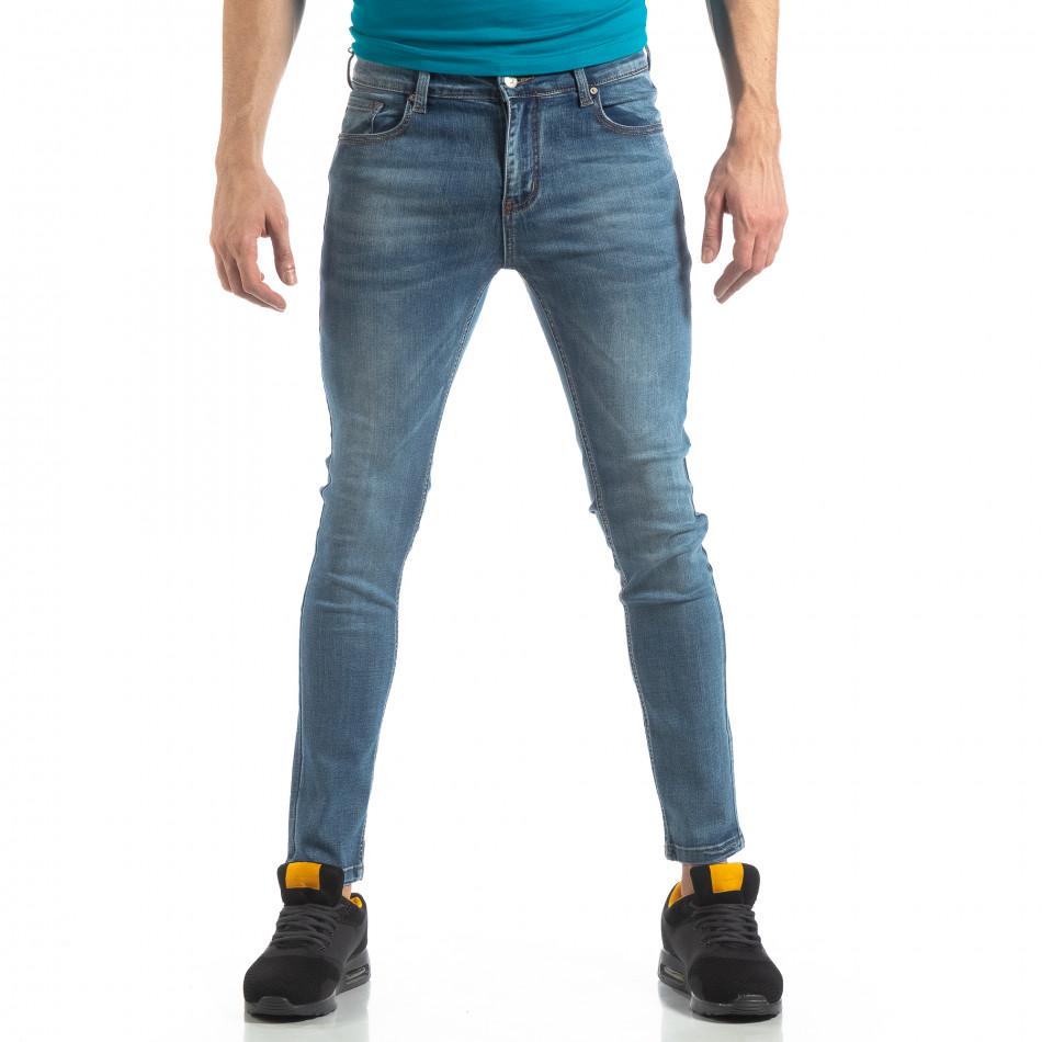 Еластични мъжки дънки Slim fit в синьо it210319-4