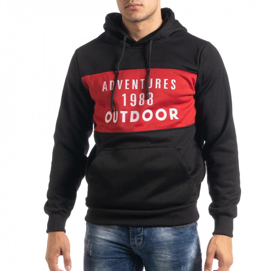 Мъжки суичър hoodie с червен акцент it041019-51