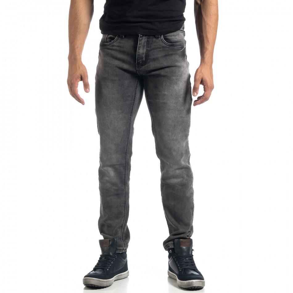 Еластични мъжки сиви дънки Regular fit it041019-23