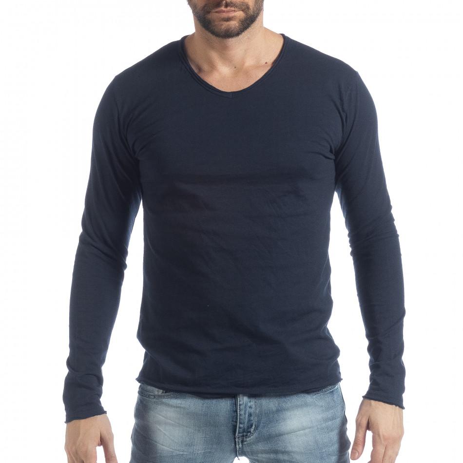 Мъжка блуза V-neck в тъмно синьо it040219-90