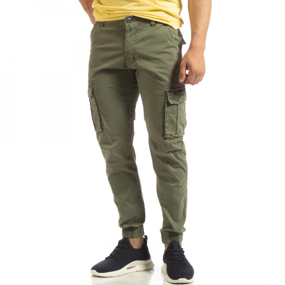 Мъжки карго джогър панталон в зелено it090519-8