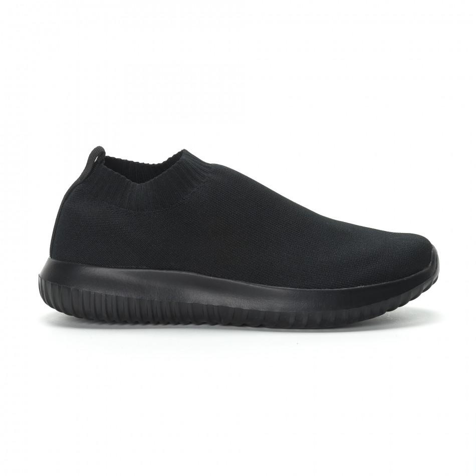 Ниски мъжки маратонки тип чорап All black it190219-11