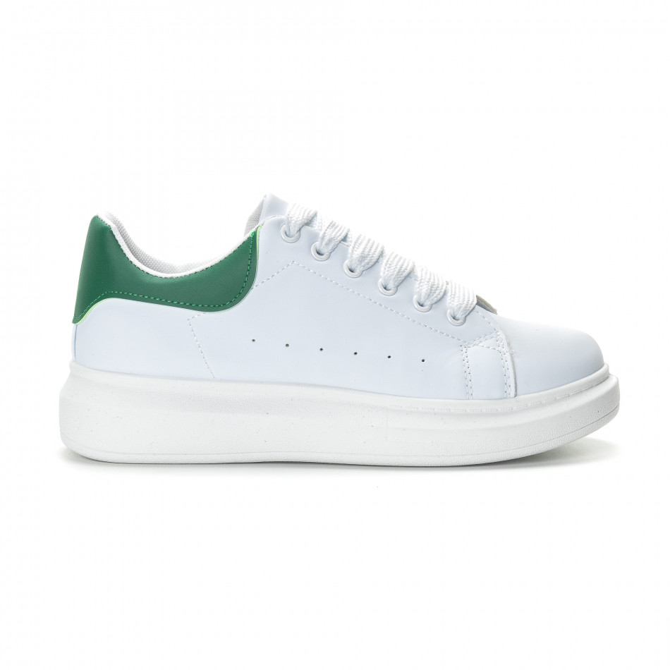Мъжки бели кецове зелена пета it190219-5