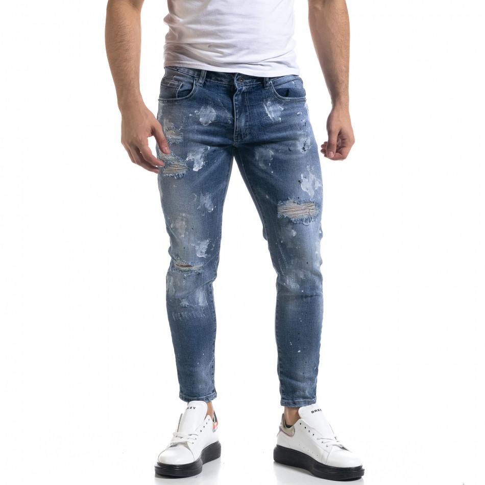 Мъжки сини дънки Destroyed Cropped it110320-5