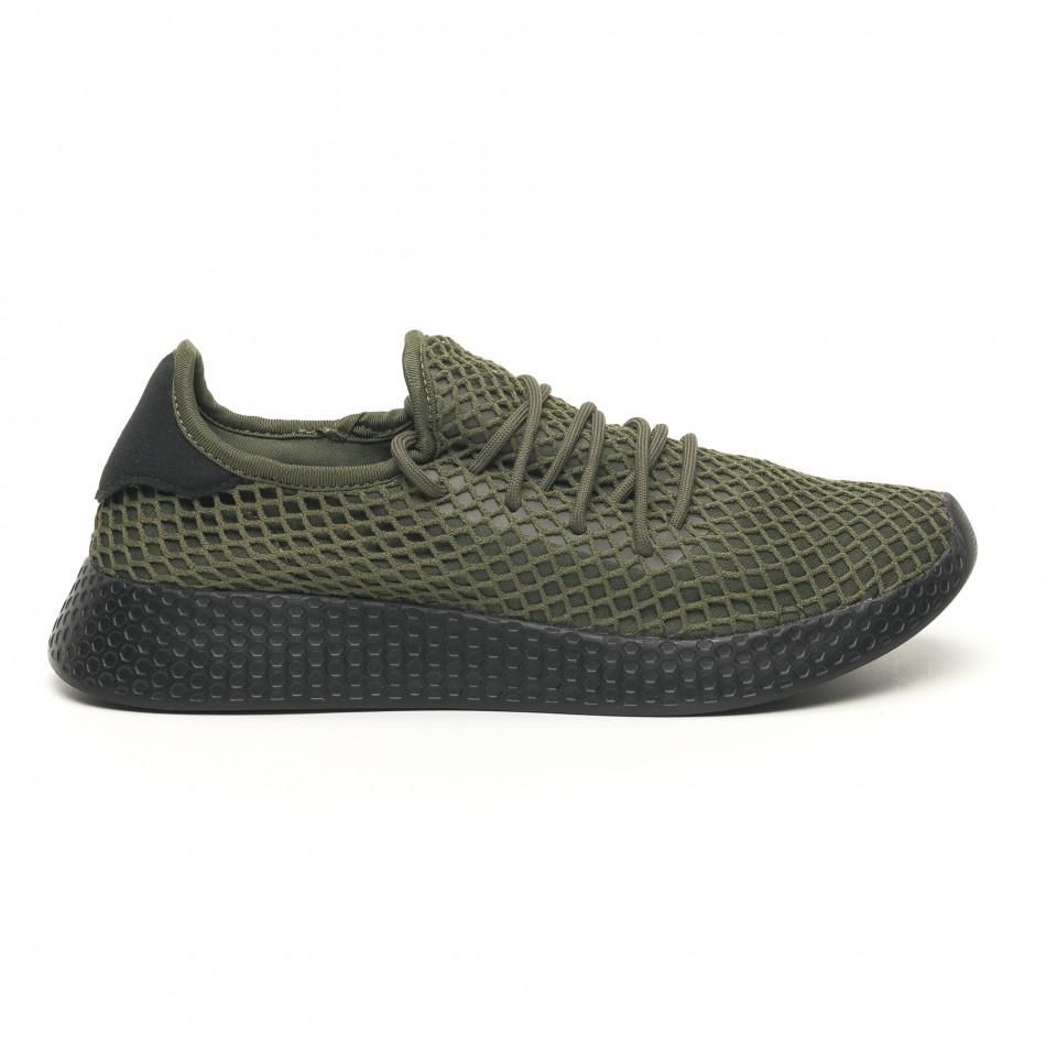 Зелени мъжки маратонки Mesh черна пета it251019-1