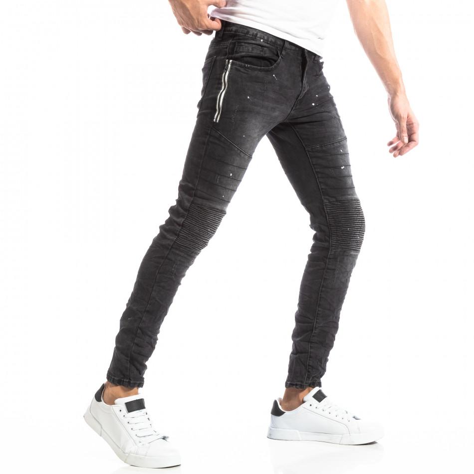 Рокерски мъжки дънки в черно it261018-2