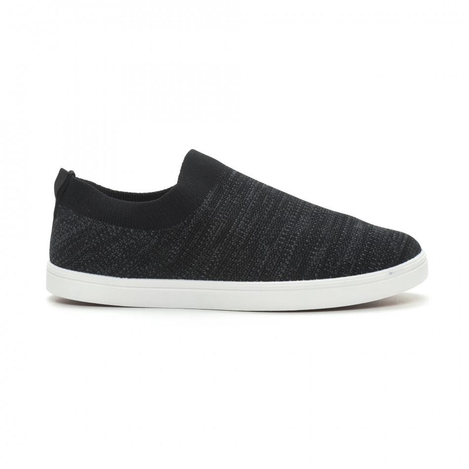 Мъжки гуменки тип чорап черен меланж it150319-15