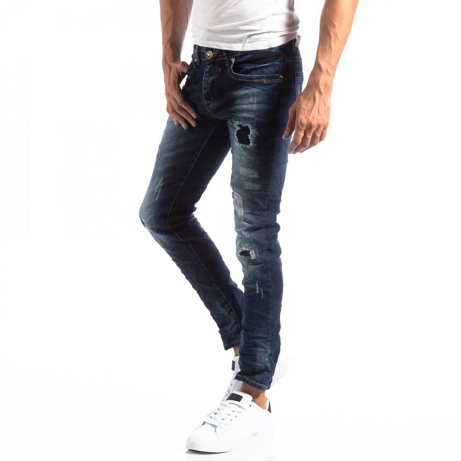 Мъжки намачкани Slim Jeans с акцентни кръпки it250918-16
