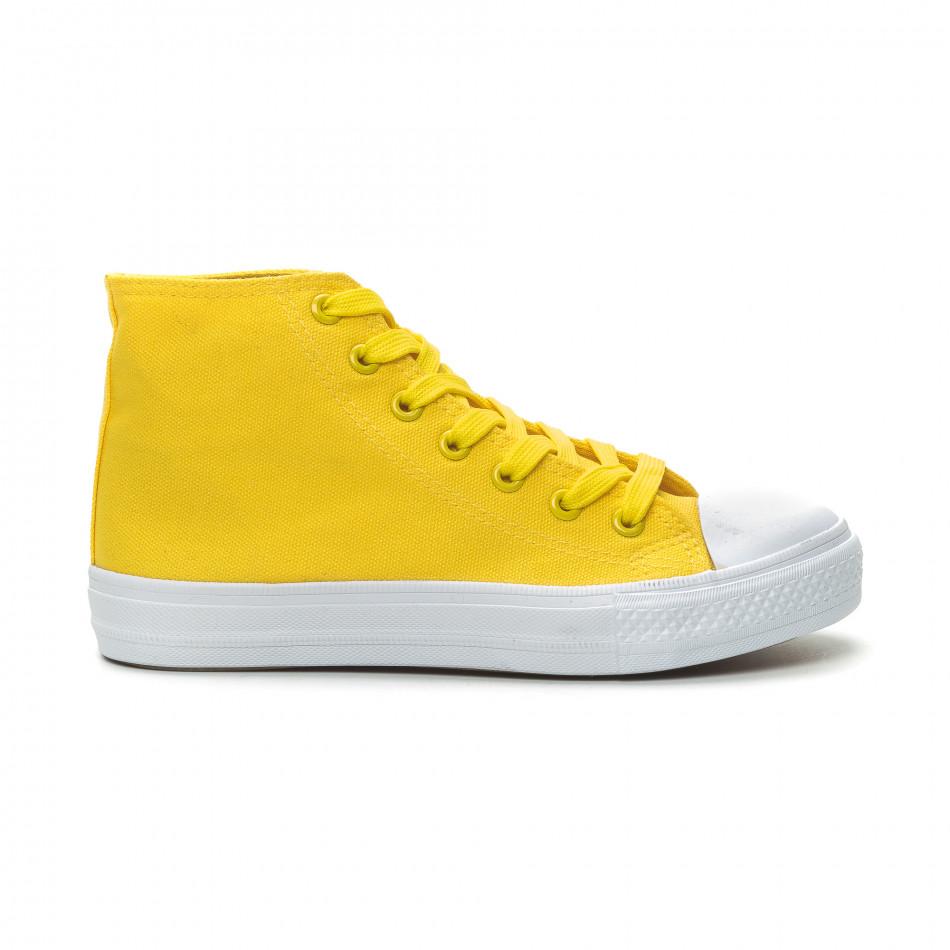 Basic дамски жълти високи кецове  it150319-32