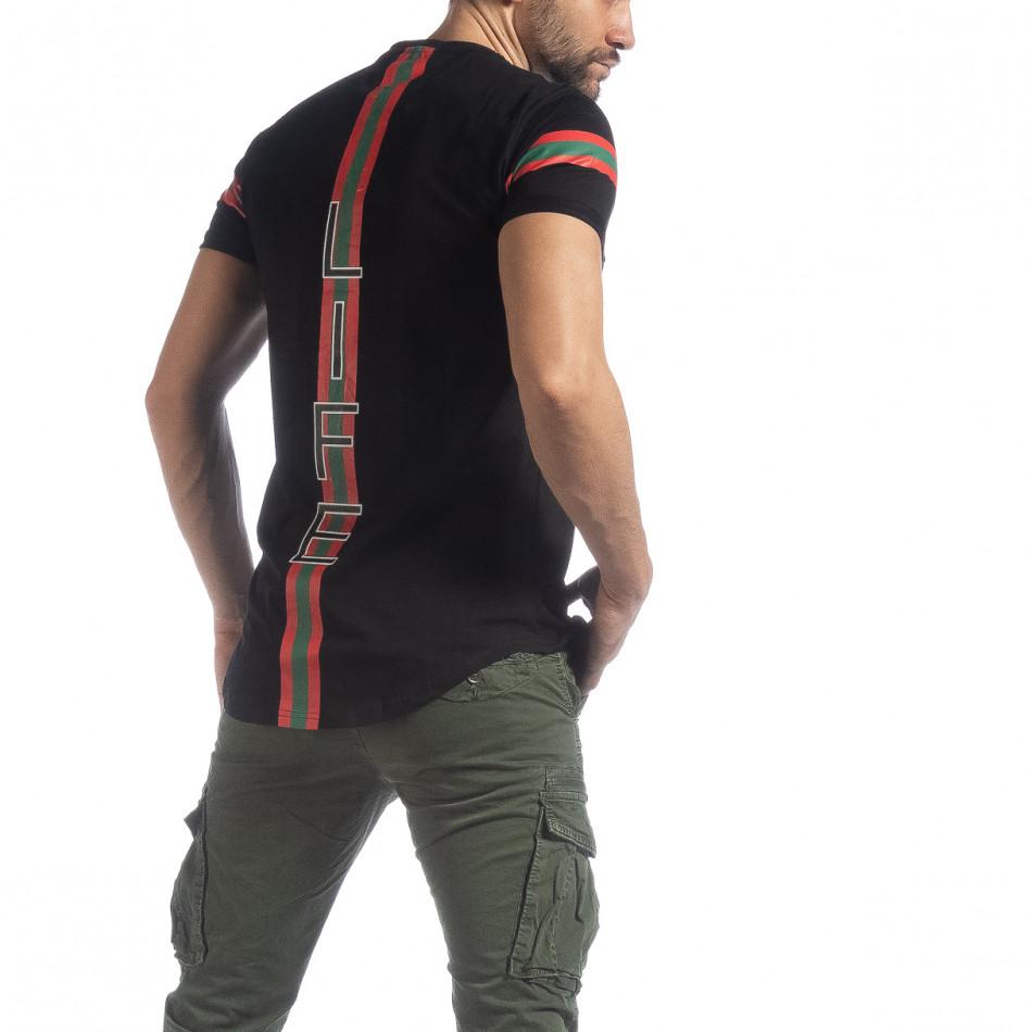 Мъжка черна тениска More Life Stripe it040219-118