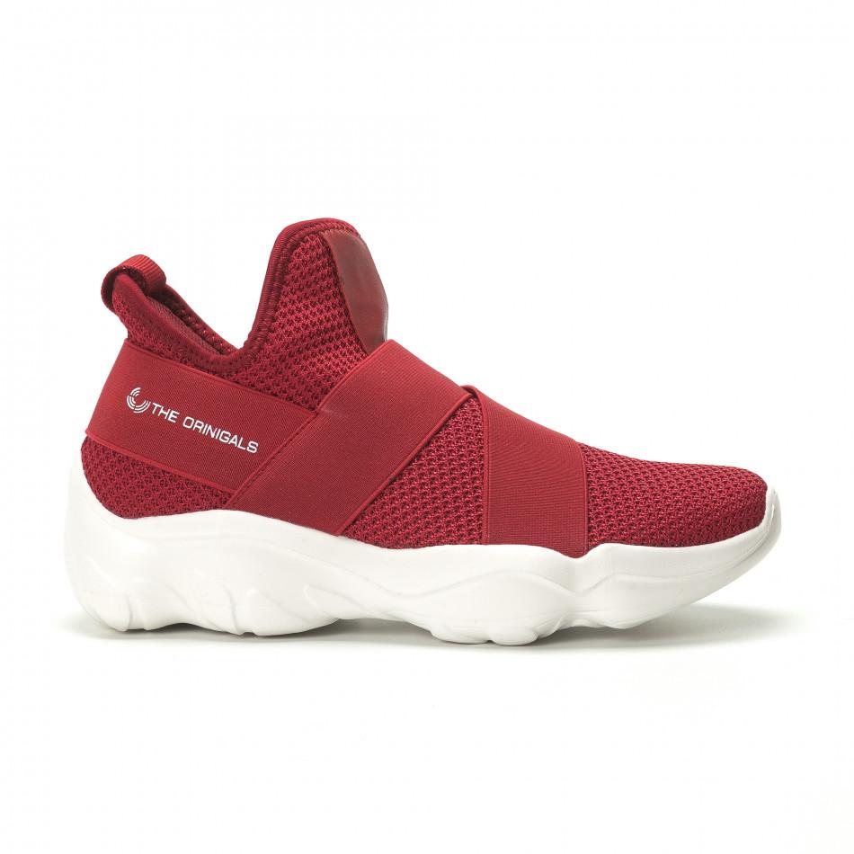 Slip-on мъжки маратонки червен текстил с ластици  it250119-9