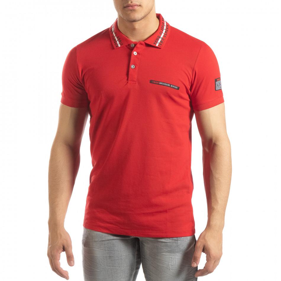 Червена мъжка тениска с принт на яката it150419-98