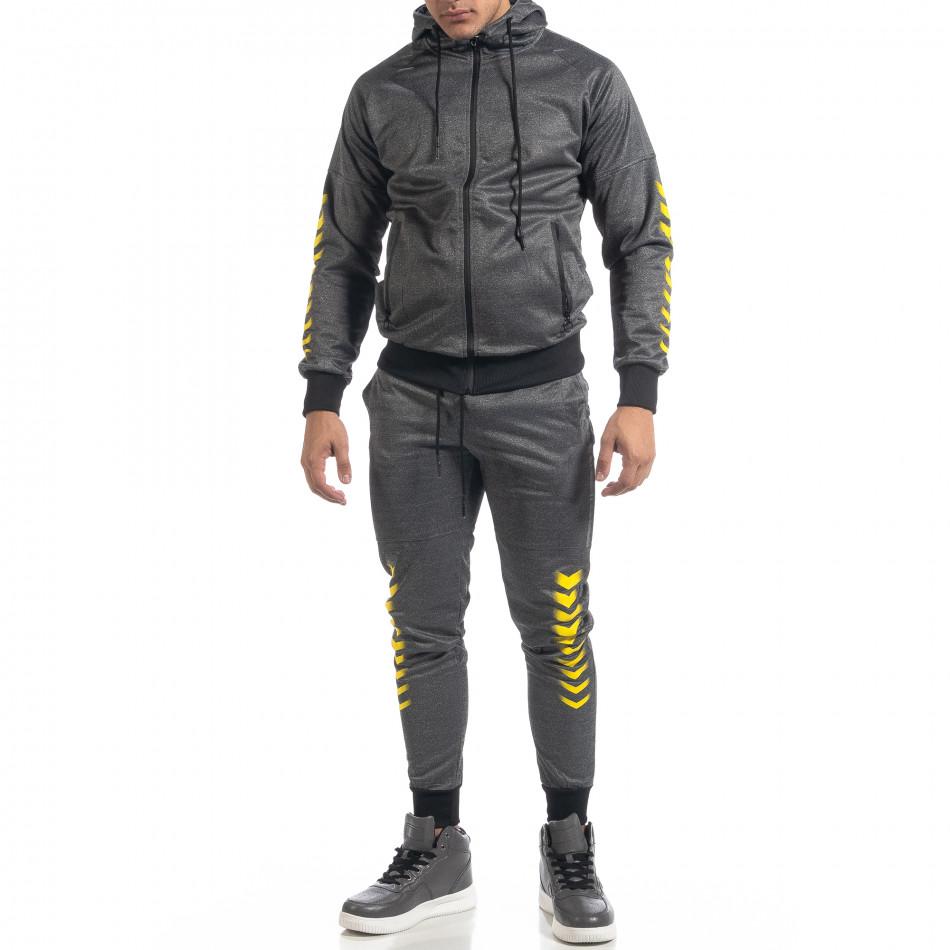 Сив мъжки спортен комплект с жълти акценти it071119-44