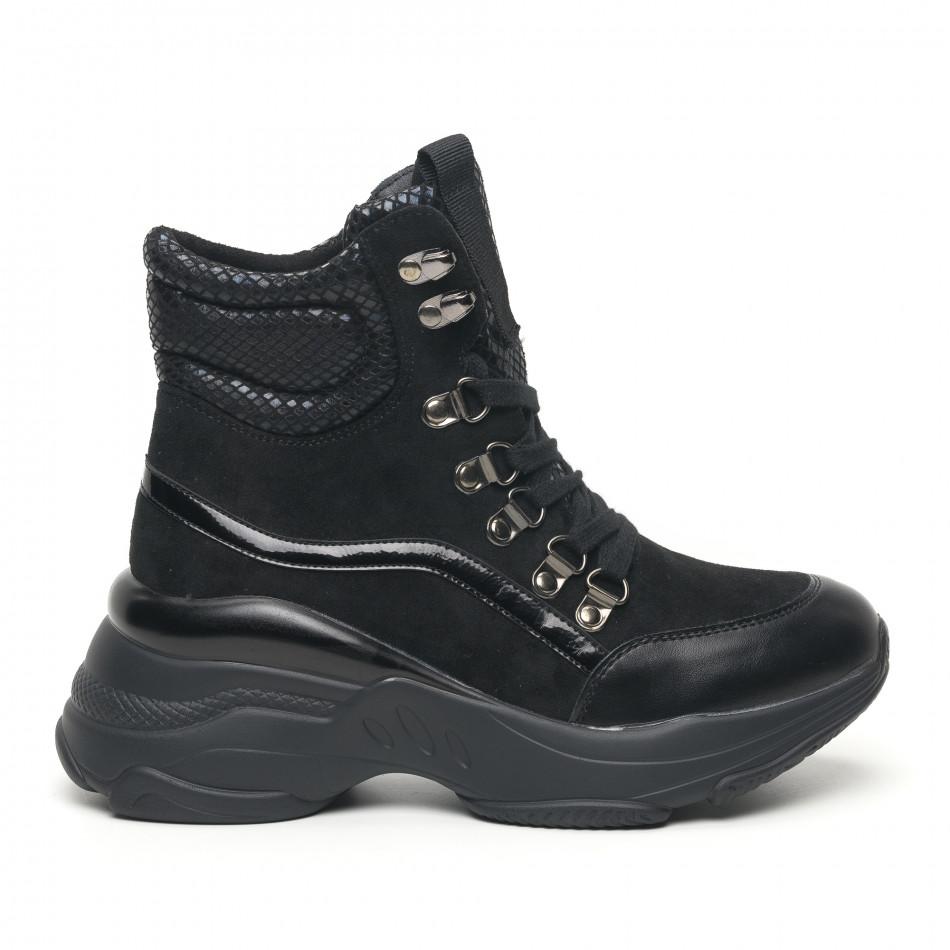 Черни дамски спортни боти с обемна подметка it281019-18